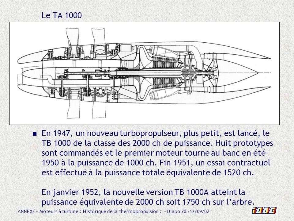 ANNEXE – Moteurs à turbine : Historique de la thermopropulsion : - Diapo 70 -17/09/02 Le TA 1000 En 1947, un nouveau turbopropulseur, plus petit, est