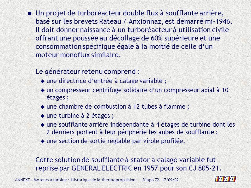 ANNEXE – Moteurs à turbine : Historique de la thermopropulsion : - Diapo 72 -17/09/02 Un projet de turboréacteur double flux à soufflante arrière, bas