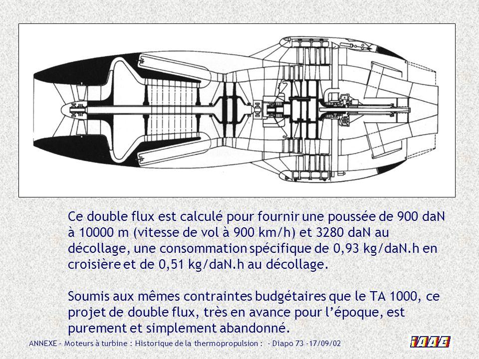 ANNEXE – Moteurs à turbine : Historique de la thermopropulsion : - Diapo 73 -17/09/02 Ce double flux est calculé pour fournir une poussée de 900 daN à
