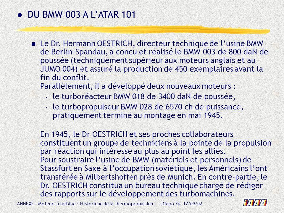ANNEXE – Moteurs à turbine : Historique de la thermopropulsion : - Diapo 74 -17/09/02 Le Dr. Hermann OESTRICH, directeur technique de lusine BMW de Be