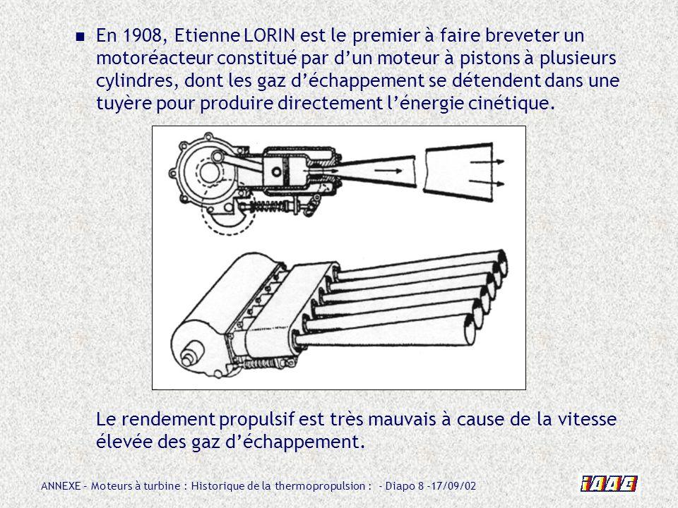 ANNEXE – Moteurs à turbine : Historique de la thermopropulsion : - Diapo 39 -17/09/02 Chez BMW, cest en 1938 que débute, sous la direction de lingénieur OESTRICH (devenu directeur technique de la SNECMA de 1950 à 1960 et père de la famille ATAR), létude dun turboréacteur à flux axial, le BMW 003 Le premier prototype comporte un compresseur axial (6 étages), une chambre annulaire (16 injecteurs) et une turbine axiale à aubes creuses refroidies.