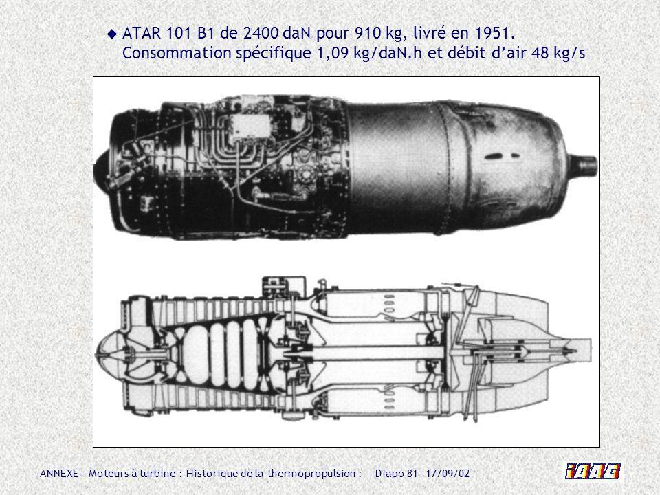 ANNEXE – Moteurs à turbine : Historique de la thermopropulsion : - Diapo 81 -17/09/02 ATAR 101 B1 de 2400 daN pour 910 kg, livré en 1951. Consommation