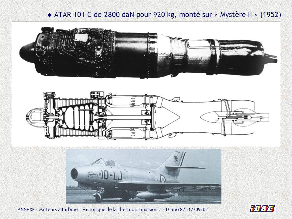ANNEXE – Moteurs à turbine : Historique de la thermopropulsion : - Diapo 82 -17/09/02 ATAR 101 C de 2800 daN pour 920 kg, monté sur « Mystère II » (19