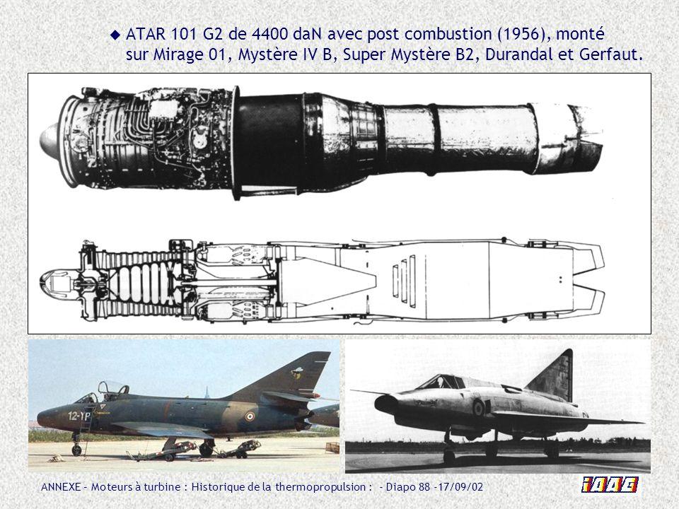 ANNEXE – Moteurs à turbine : Historique de la thermopropulsion : - Diapo 88 -17/09/02 ATAR 101 G2 de 4400 daN avec post combustion (1956), monté sur M