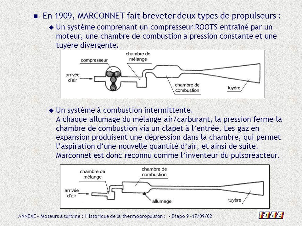 ANNEXE – Moteurs à turbine : Historique de la thermopropulsion : - Diapo 9 -17/09/02 En 1909, MARCONNET fait breveter deux types de propulseurs : Un s