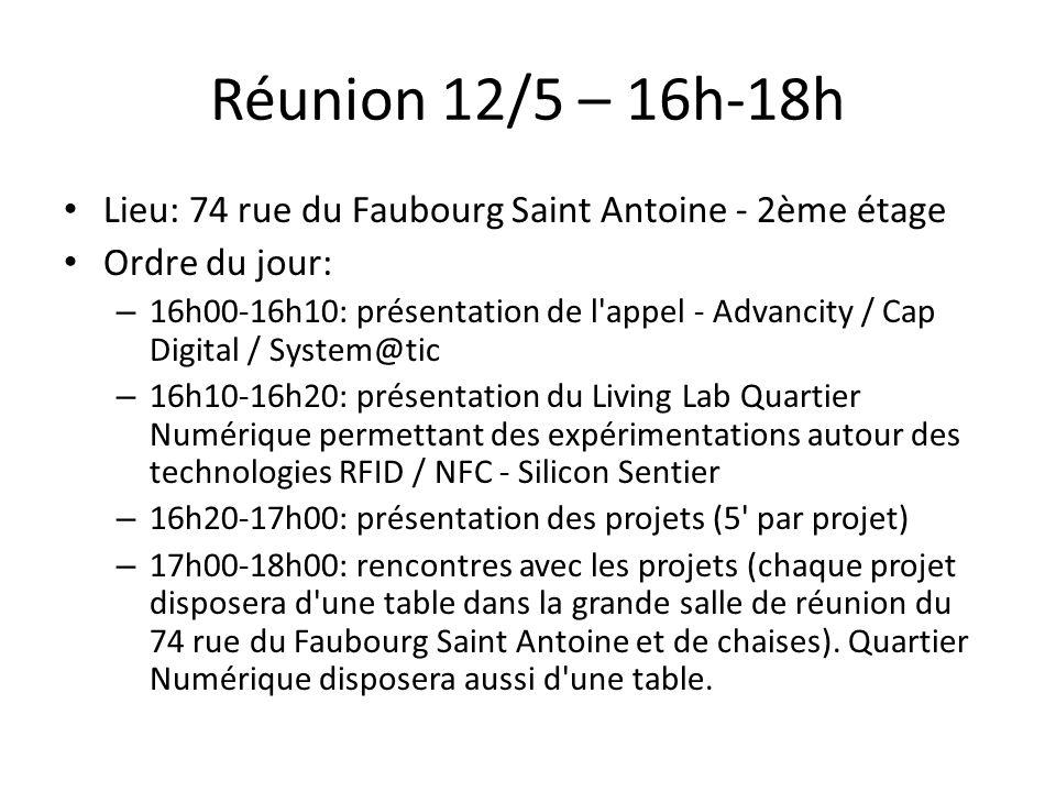 Réunion 12/5 – 16h-18h Lieu: 74 rue du Faubourg Saint Antoine - 2ème étage Ordre du jour: – 16h00-16h10: présentation de l'appel - Advancity / Cap Dig