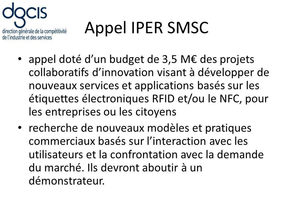 Appel IPER SMSC appel doté dun budget de 3,5 M des projets collaboratifs dinnovation visant à développer de nouveaux services et applications basés su