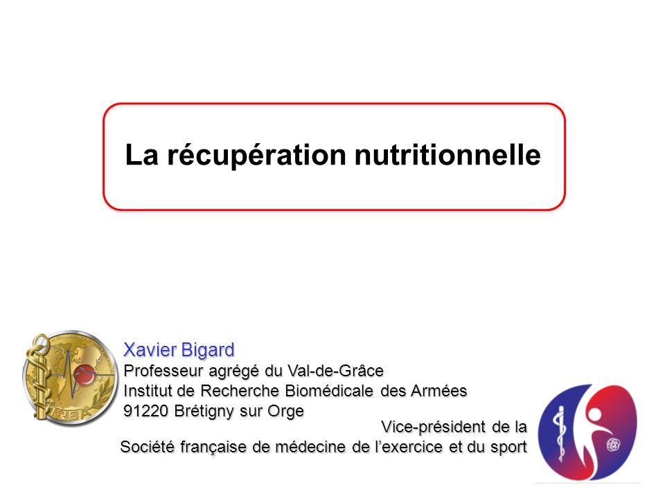 La récupération nutritionnelle Xavier Bigard Professeur agrégé du Val-de-Grâce Institut de Recherche Biomédicale des Armées 91220 Brétigny sur Orge Vi
