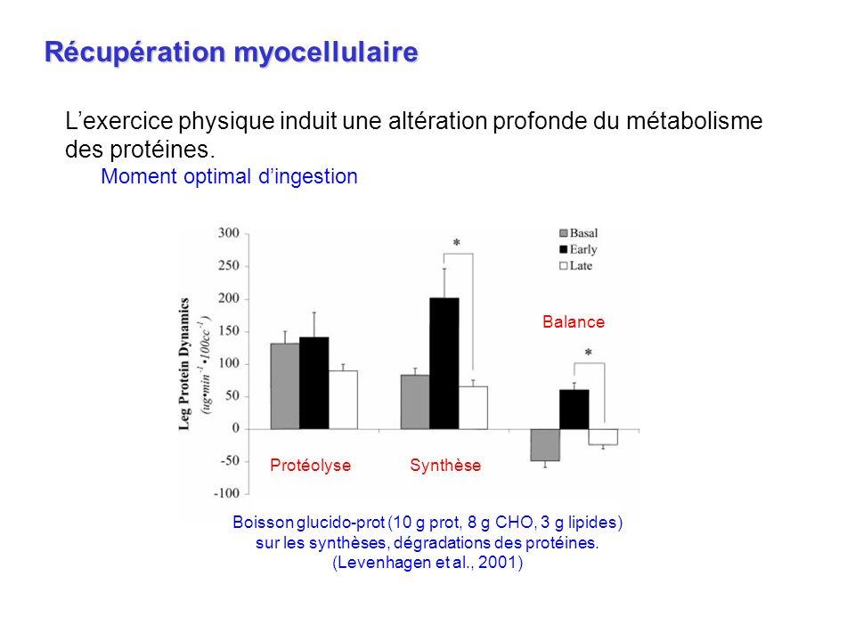 Boisson glucido-prot (10 g prot, 8 g CHO, 3 g lipides) sur les synthèses, dégradations des protéines. (Levenhagen et al., 2001) ProtéolyseSynthèse Bal