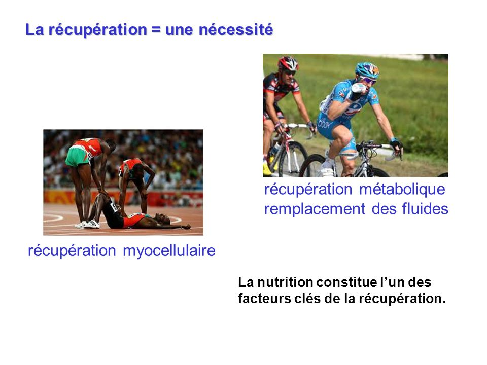 La nutrition constitue lun des facteurs clés de la récupération. récupération métabolique remplacement des fluides La récupération = une nécessité réc