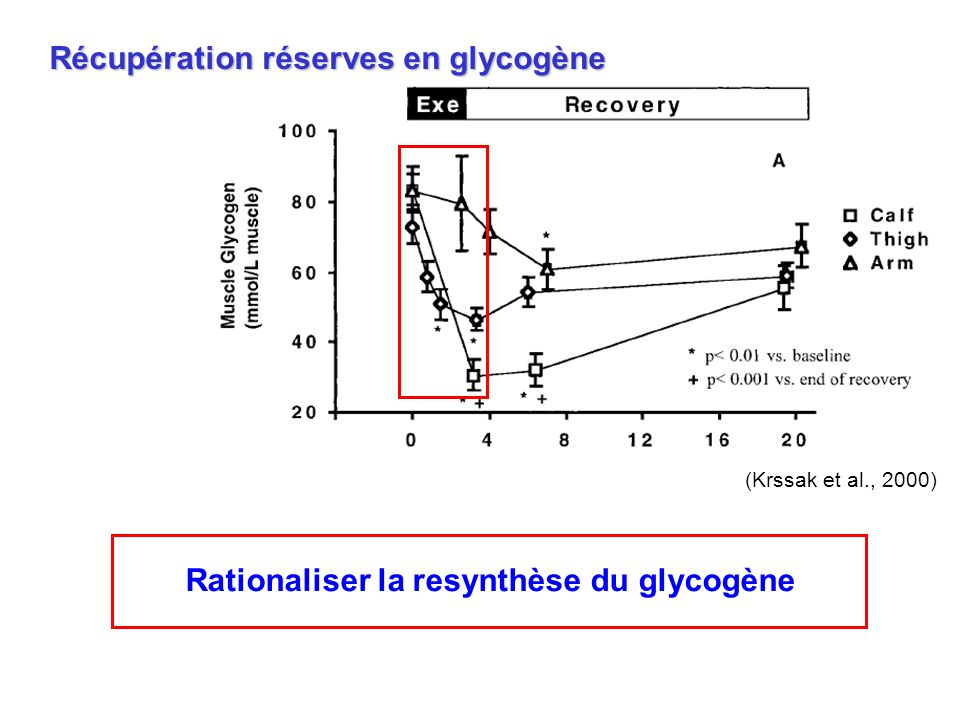 Récupération réserves en glycogène (Krssak et al., 2000) Rationaliser la resynthèse du glycogène
