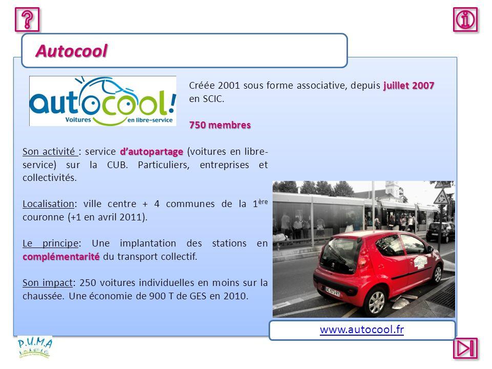 Autocool juillet 2007 Créée 2001 sous forme associative, depuis juillet 2007 en SCIC. 750 membres dautopartage Son activité : service dautopartage (vo