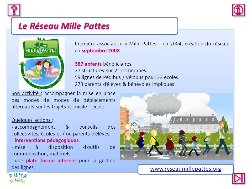 Le Réseau Mille Pattes septembre 2008 Première association « Mille Pattes » en 2004, création du réseau en septembre 2008. 387 enfants 387 enfants bén