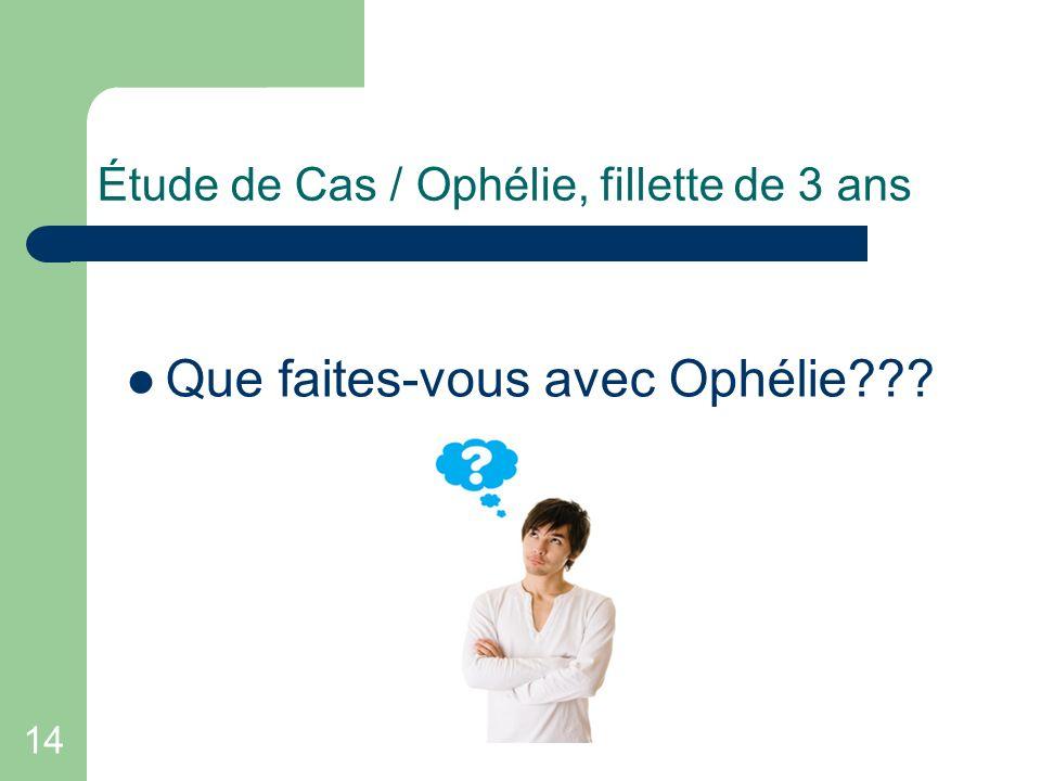 14 Étude de Cas / Ophélie, fillette de 3 ans Que faites-vous avec Ophélie???