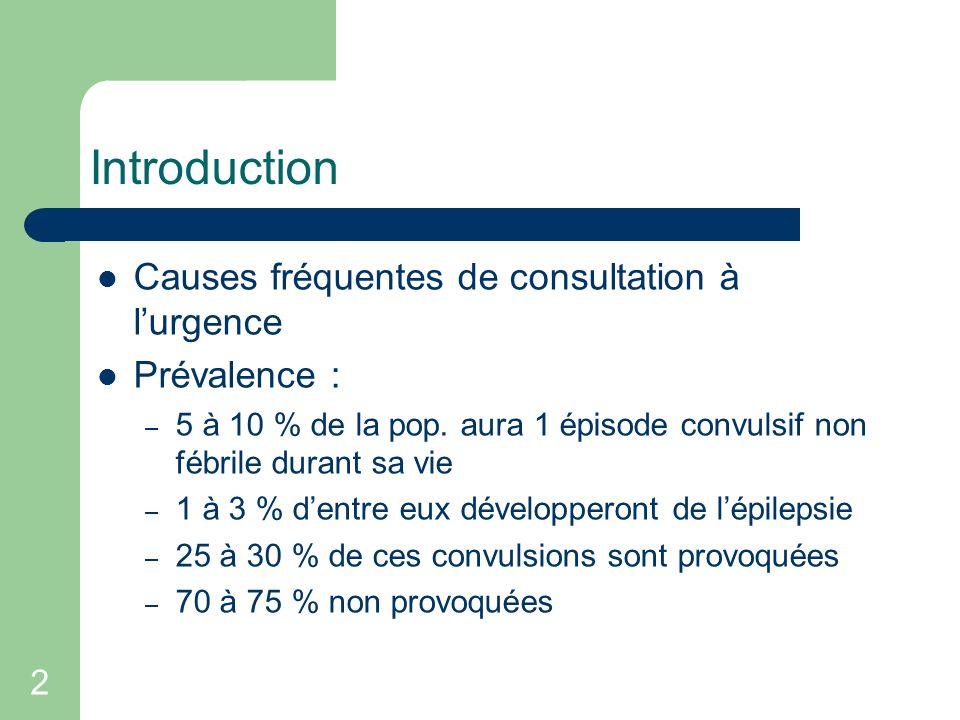 2 Introduction Causes fréquentes de consultation à lurgence Prévalence : – 5 à 10 % de la pop. aura 1 épisode convulsif non fébrile durant sa vie – 1