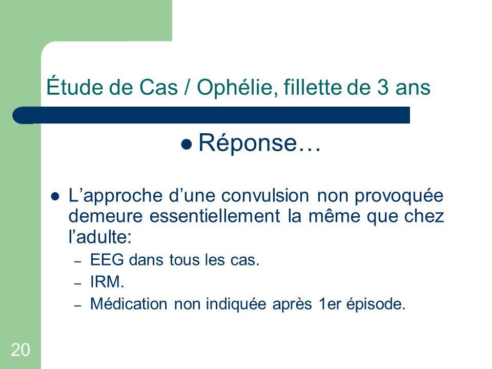 20 Étude de Cas / Ophélie, fillette de 3 ans Réponse… Lapproche dune convulsion non provoquée demeure essentiellement la même que chez ladulte: – EEG