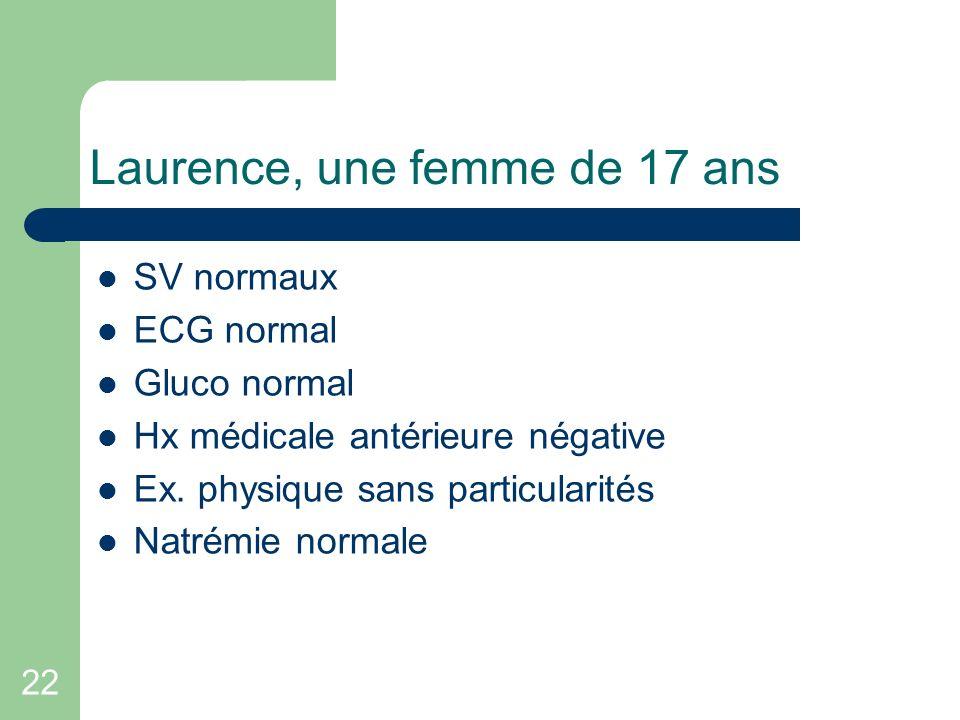 22 Laurence, une femme de 17 ans SV normaux ECG normal Gluco normal Hx médicale antérieure négative Ex. physique sans particularités Natrémie normale