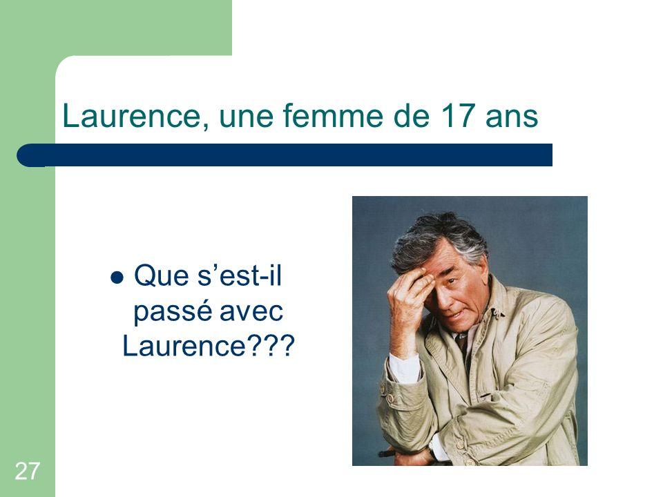 27 Laurence, une femme de 17 ans Que sest-il passé avec Laurence???