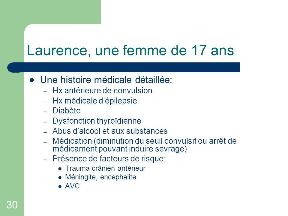 30 Laurence, une femme de 17 ans Une histoire médicale détaillée: – Hx antérieure de convulsion – Hx médicale dépilepsie – Diabète – Dysfonction thyro
