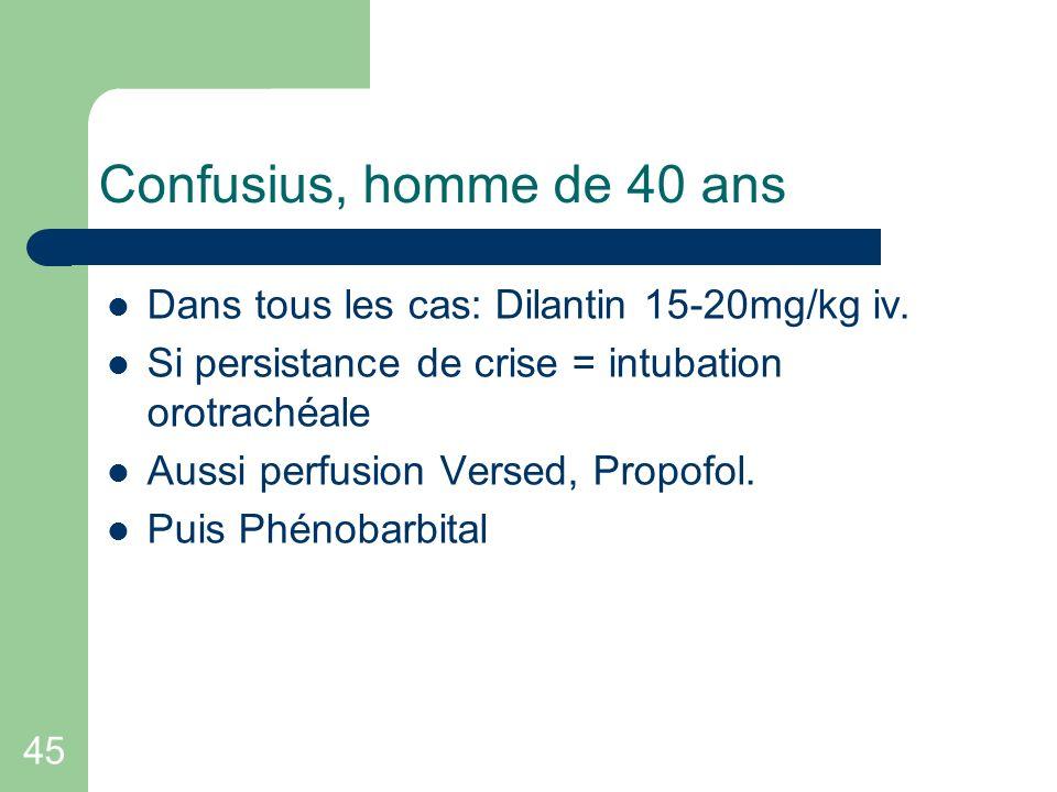 45 Confusius, homme de 40 ans Dans tous les cas: Dilantin 15-20mg/kg iv. Si persistance de crise = intubation orotrachéale Aussi perfusion Versed, Pro