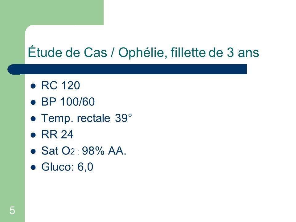 5 Étude de Cas / Ophélie, fillette de 3 ans RC 120 BP 100/60 Temp. rectale 39° RR 24 Sat O 2 : 98% AA. Gluco: 6,0