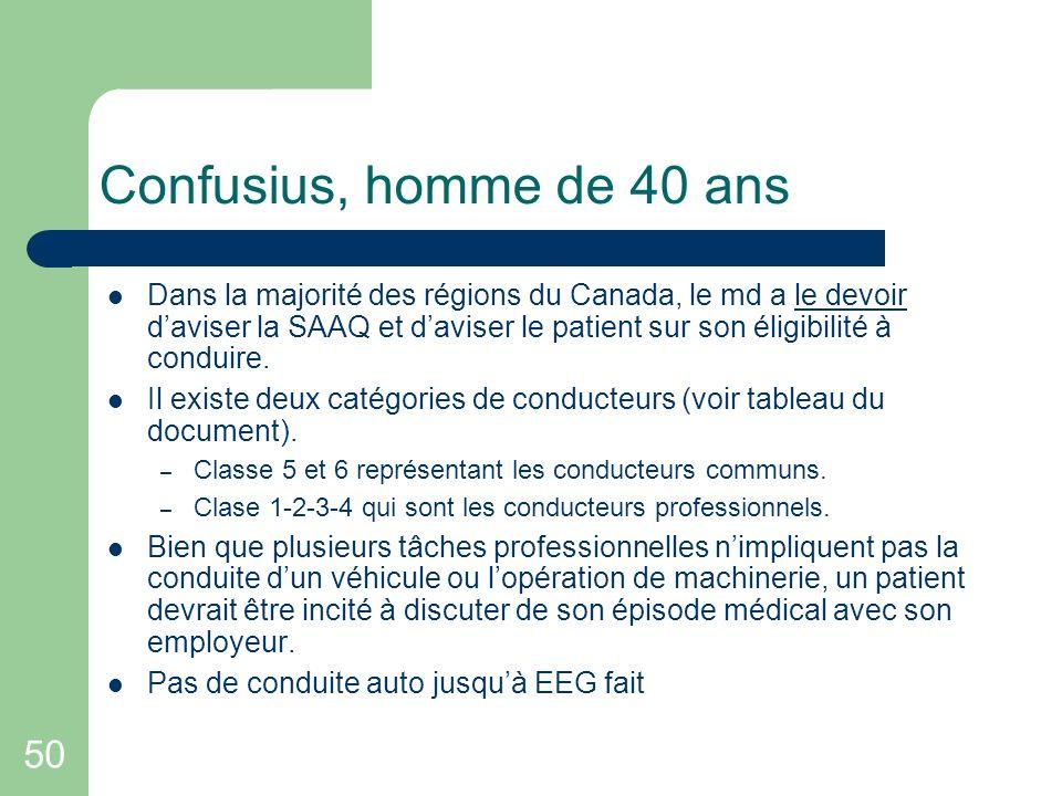 50 Confusius, homme de 40 ans Dans la majorité des régions du Canada, le md a le devoir daviser la SAAQ et daviser le patient sur son éligibilité à co