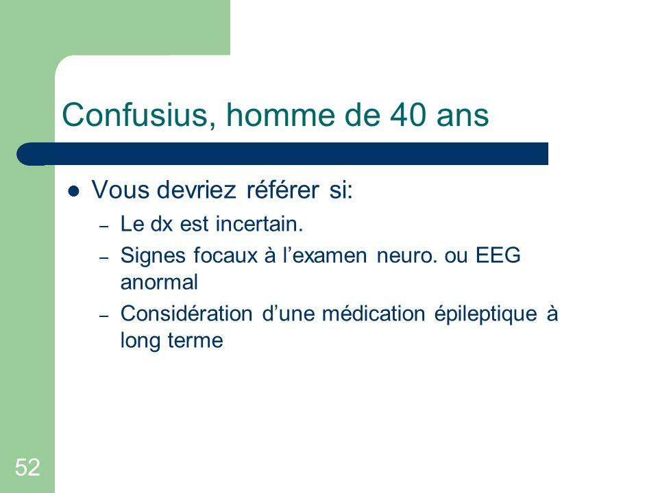 52 Confusius, homme de 40 ans Vous devriez référer si: – Le dx est incertain. – Signes focaux à lexamen neuro. ou EEG anormal – Considération dune méd
