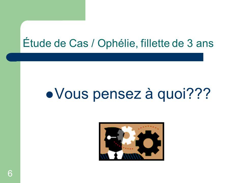 6 Étude de Cas / Ophélie, fillette de 3 ans Vous pensez à quoi???