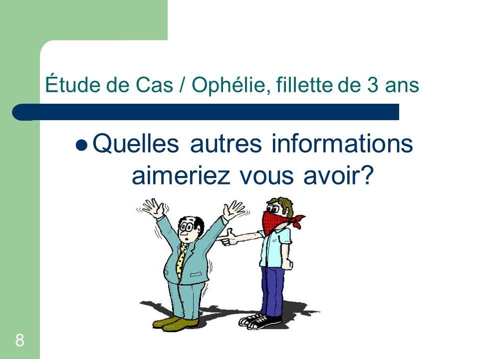 9 Étude de Cas / Ophélie, fillette de 3 ans Début des convulsions et durée Hx de trauma Hx antérieure de convulsions Prise de médicaments, surdose.