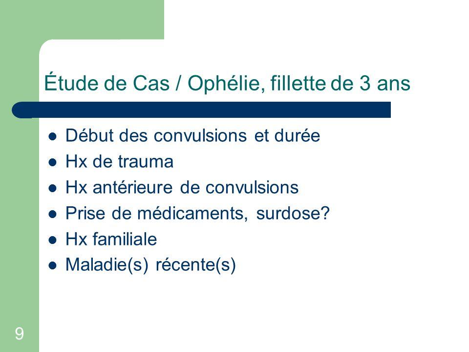9 Étude de Cas / Ophélie, fillette de 3 ans Début des convulsions et durée Hx de trauma Hx antérieure de convulsions Prise de médicaments, surdose? Hx