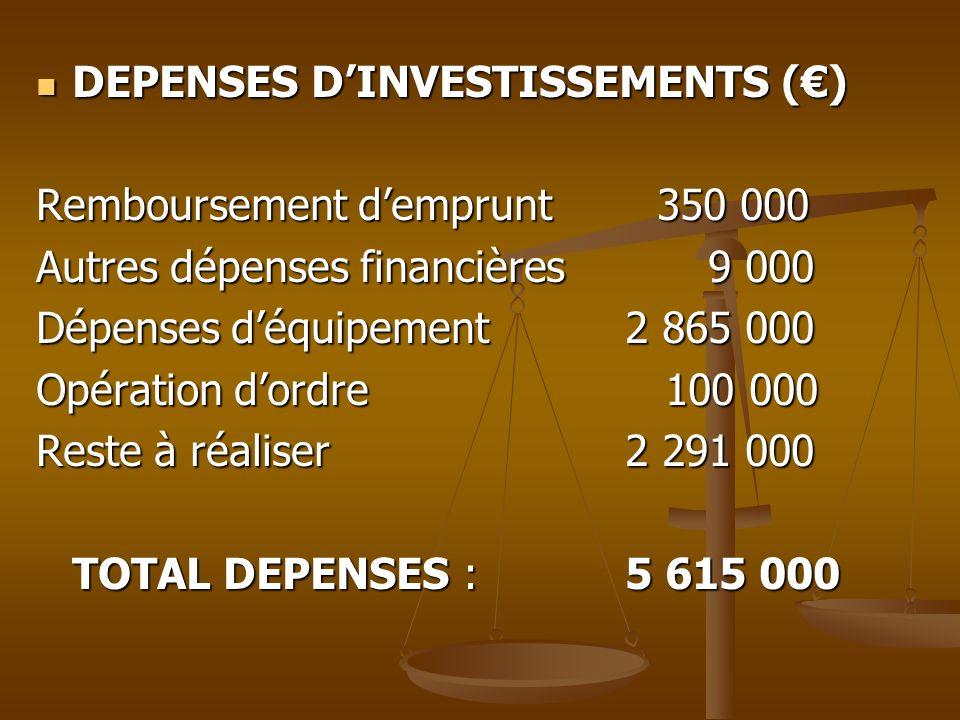 DEPENSES DINVESTISSEMENTS () DEPENSES DINVESTISSEMENTS () Remboursement demprunt 350 000 Autres dépenses financières9 000 Dépenses déquipement 2 865 0