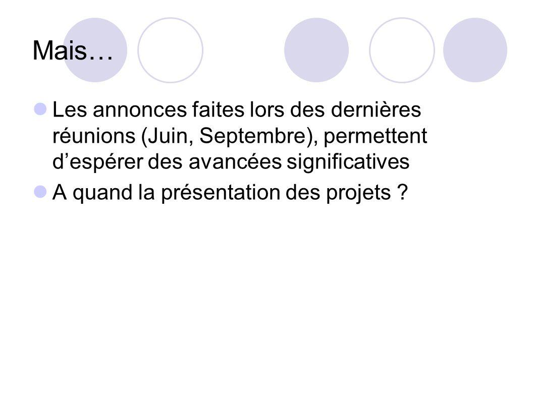 Les annonces faites lors des dernières réunions (Juin, Septembre), permettent despérer des avancées significatives A quand la présentation des projets