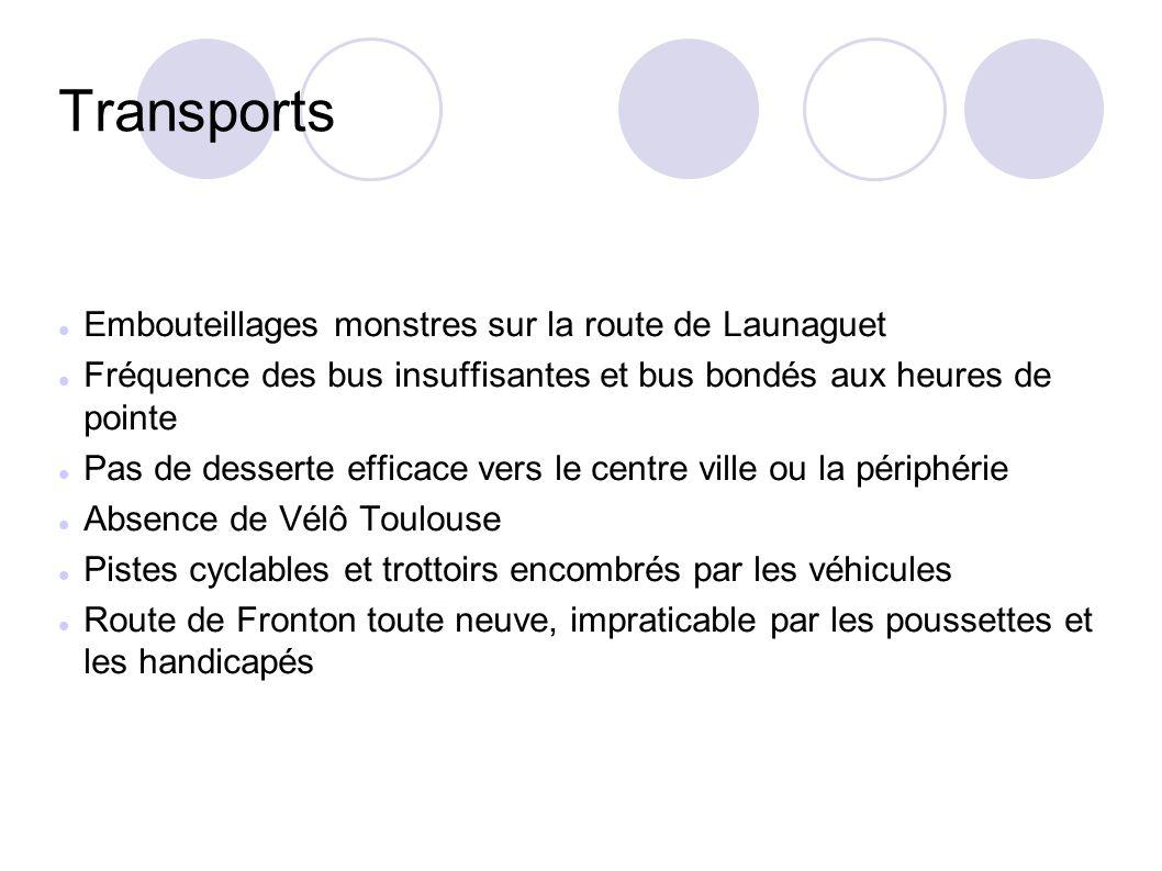 Transports Embouteillages monstres sur la route de Launaguet Fréquence des bus insuffisantes et bus bondés aux heures de pointe Pas de desserte effica