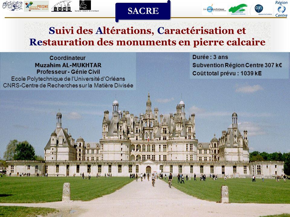 Suivi des Altérations, Caractérisation et Restauration des monuments en pierre calcaire 1 SACRE Domaine national de Chambord Coordinateur Muzahim AL-M