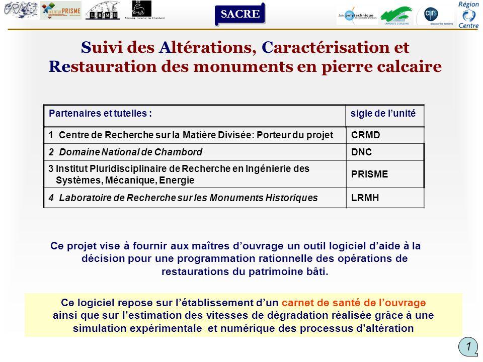 Suivi des Altérations, Caractérisation et Restauration des monuments en pierre calcaire Ce projet vise à fournir aux maîtres douvrage un outil logicie