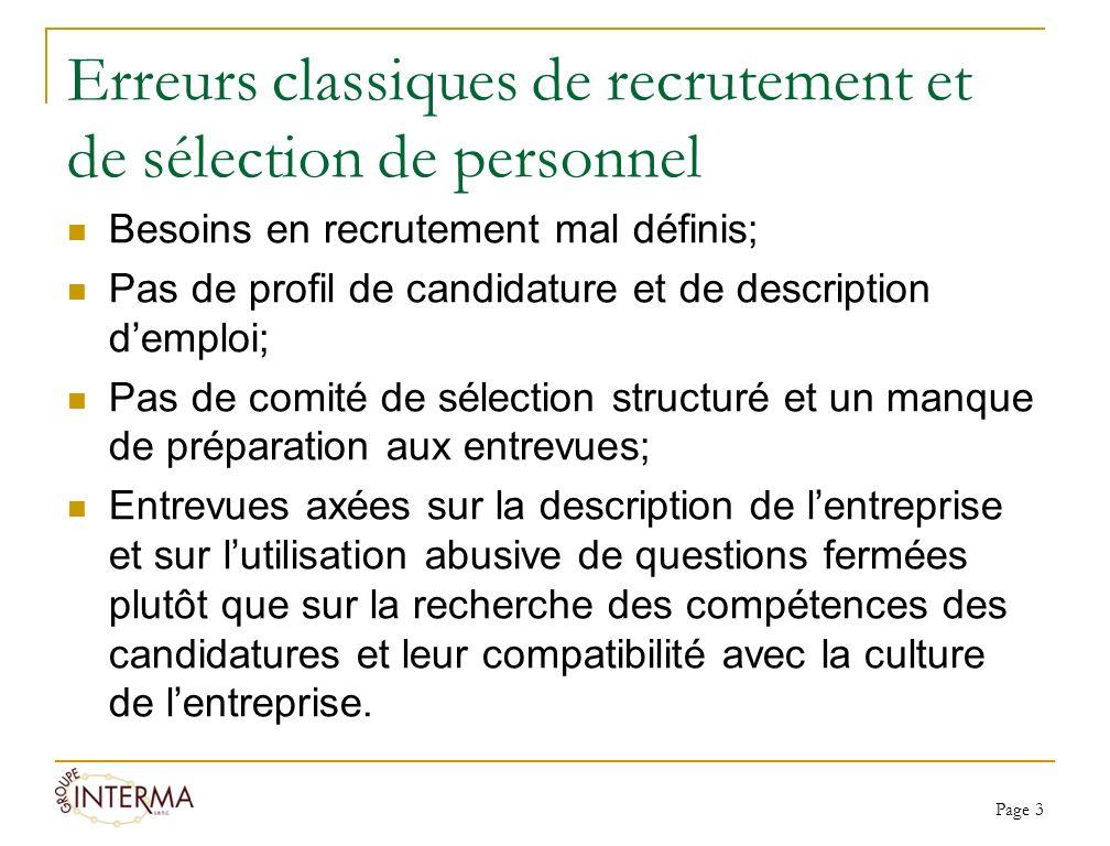 Erreurs classiques de recrutement et de sélection de personnel Besoins en recrutement mal définis; Pas de profil de candidature et de description demp