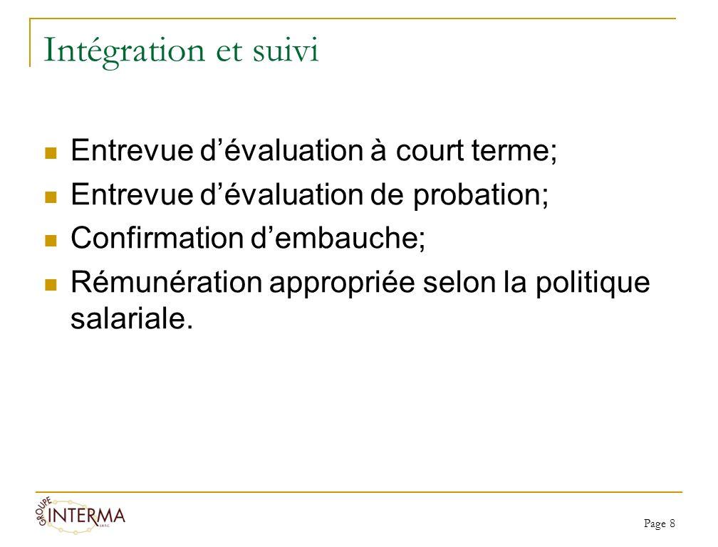 Intégration et suivi Entrevue dévaluation à court terme; Entrevue dévaluation de probation; Confirmation dembauche; Rémunération appropriée selon la p