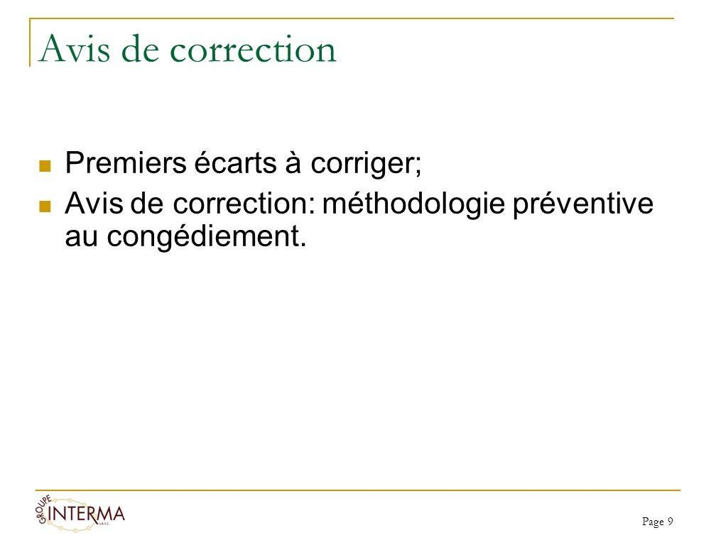 Avis de correction Premiers écarts à corriger; Avis de correction: méthodologie préventive au congédiement. Page 9