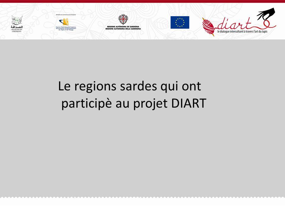 Le regions sardes qui ont participè au projet DIART