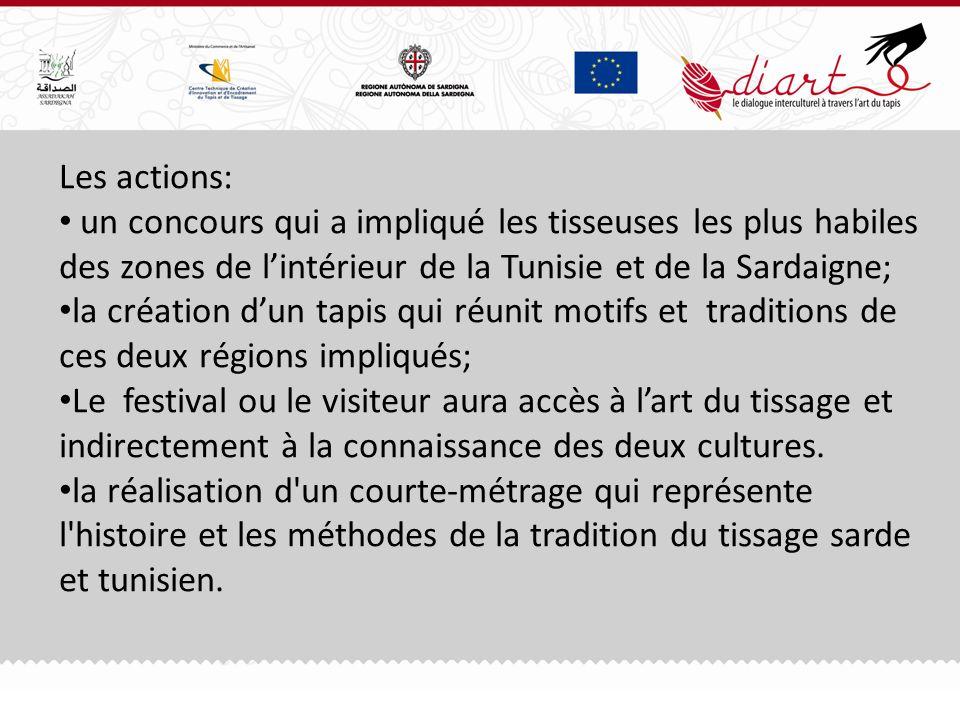 Les actions: un concours qui a impliqué les tisseuses les plus habiles des zones de lintérieur de la Tunisie et de la Sardaigne; la création dun tapis qui réunit motifs et traditions de ces deux régions impliqués; Le festival ou le visiteur aura accès à lart du tissage et indirectement à la connaissance des deux cultures.