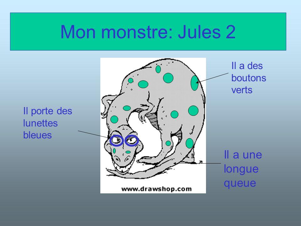 Sa description Il sappelle Jules 2 Il a cent-vingt ans Il est très gros et très très grand Il est chauve et gris Il a une longue queue Il habite á Lyon Il porte des lunettes bleues Il a des boutons verts Son anniversaire est le vingt-deux Juillet 2445