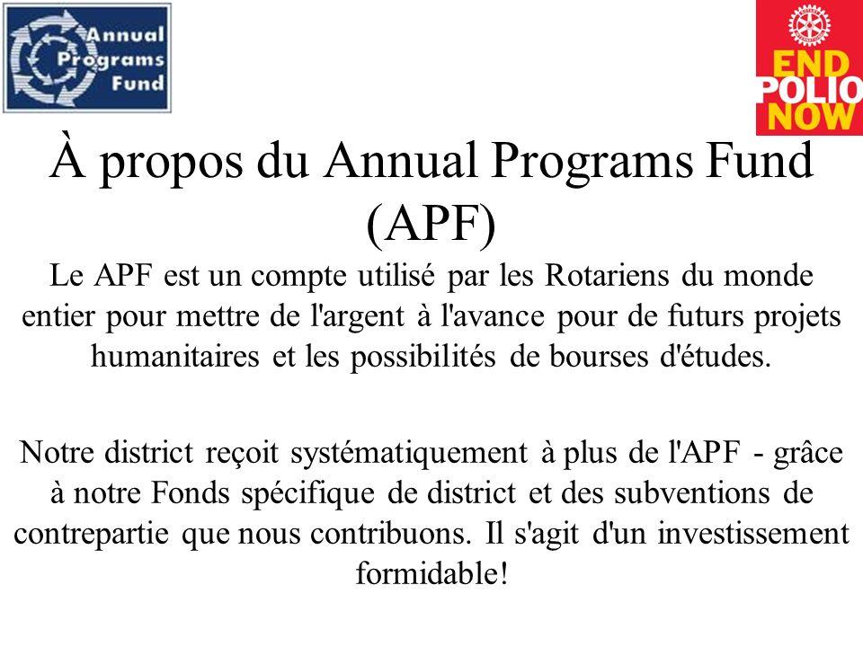 À propos du Annual Programs Fund (APF) Le APF est un compte utilisé par les Rotariens du monde entier pour mettre de l argent à l avance pour de futurs projets humanitaires et les possibilités de bourses d études.