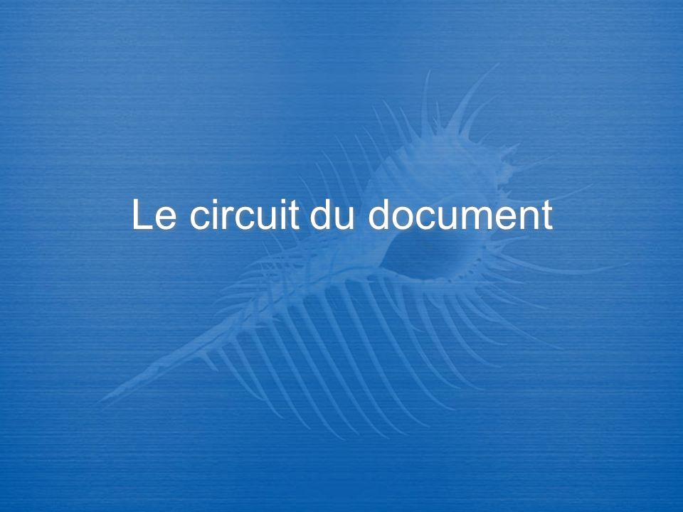 Le circuit du document regroupe lensemble des opérations intellectuelles et matérielles effectuées sur un document de son entrée à la bibliothèque à sa mise à la disposition du lecteur