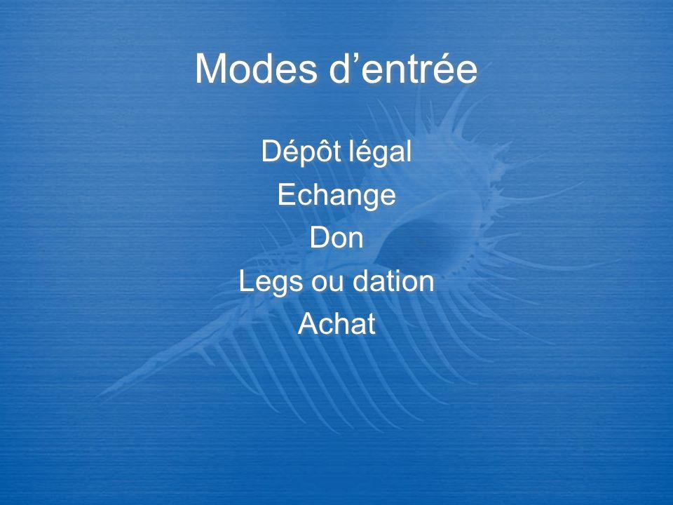 Modes dentrée Dépôt légal Echange Don Legs ou dation Achat Dépôt légal Echange Don Legs ou dation Achat