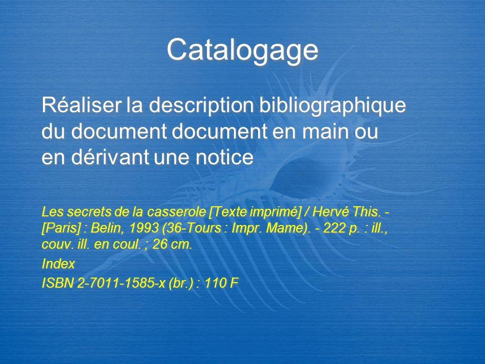 Indexation Traduire le contenu du document par un mot-clé ou/et un indice Les secrets de la casserole [Texte imprimé] / Hervé This.