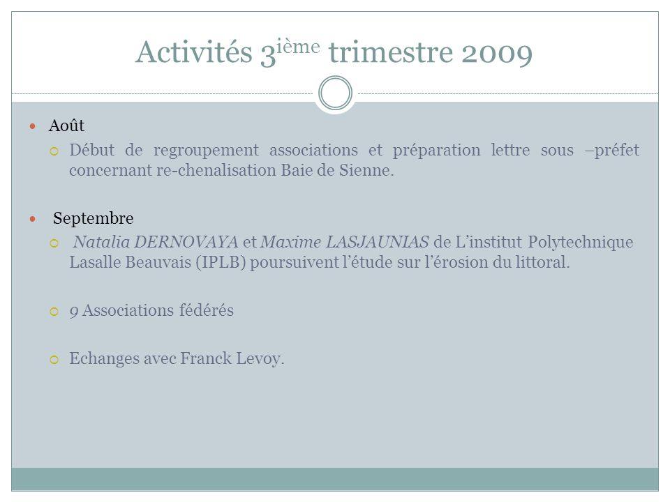 Activités 3 ième trimestre 2009 Août Début de regroupement associations et préparation lettre sous –préfet concernant re-chenalisation Baie de Sienne.
