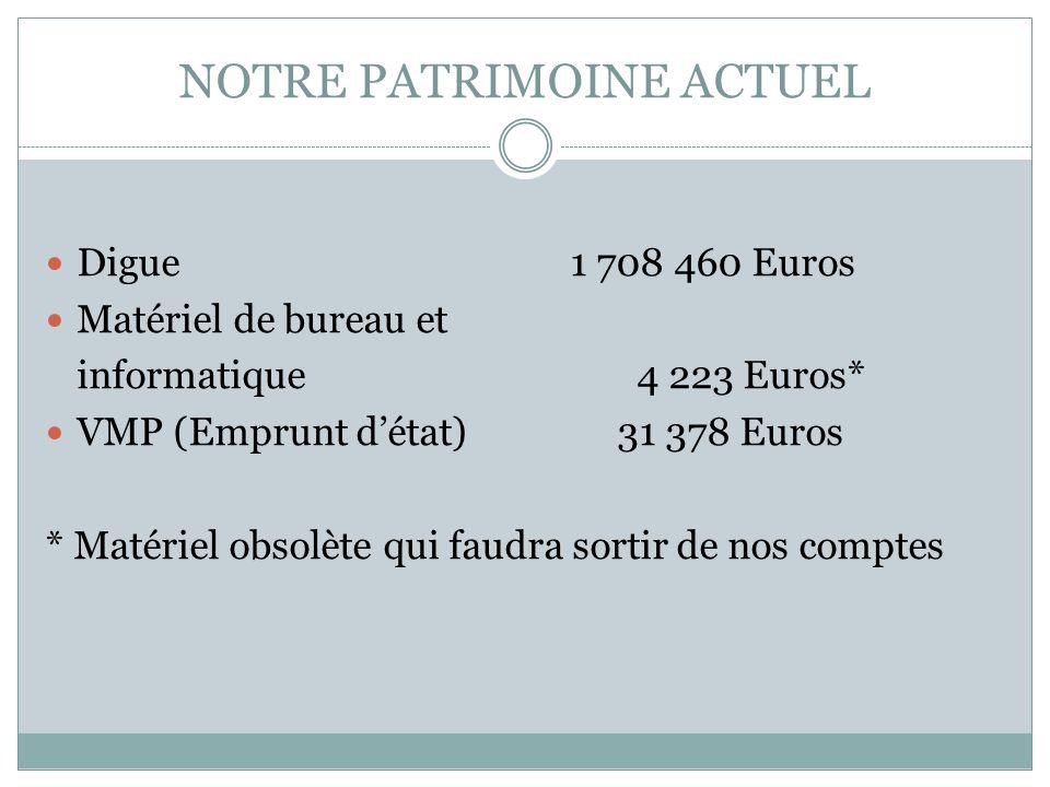 NOTRE PATRIMOINE ACTUEL Digue 1 708 460 Euros Matériel de bureau et informatique 4 223 Euros* VMP (Emprunt détat) 31 378 Euros * Matériel obsolète qui
