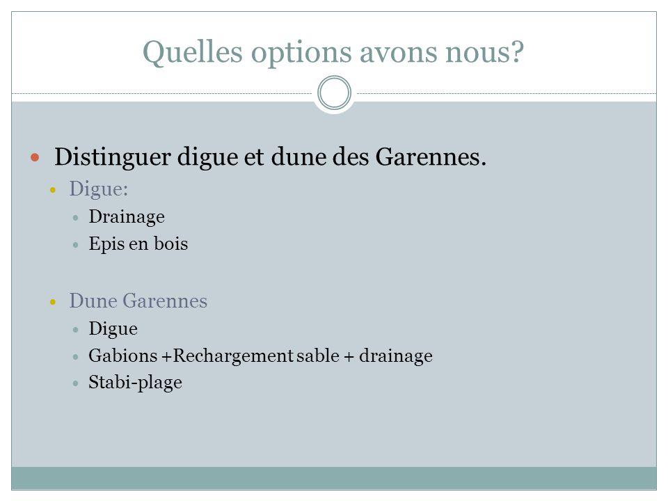 Distinguer digue et dune des Garennes. Digue: Drainage Epis en bois Dune Garennes Digue Gabions +Rechargement sable + drainage Stabi-plage Quelles opt