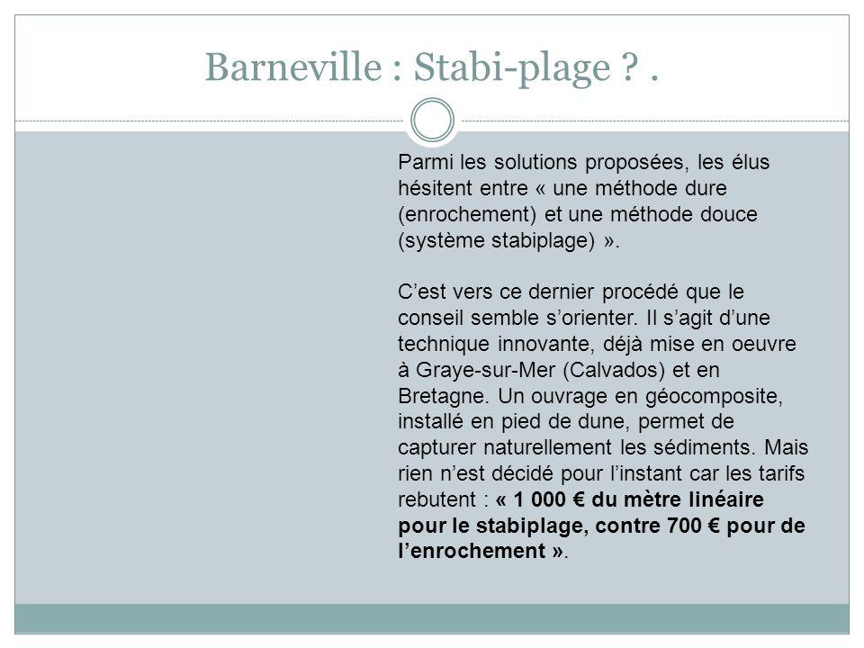 Barneville : Stabi-plage ?. Parmi les solutions proposées, les élus hésitent entre « une méthode dure (enrochement) et une méthode douce (système stab