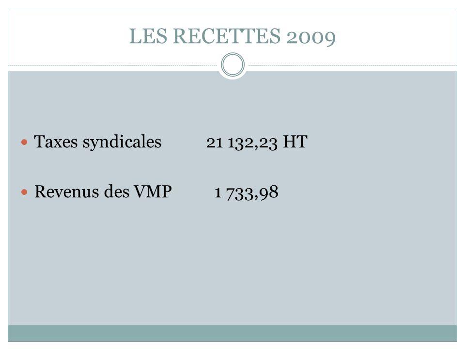 LES RECETTES 2009 Taxes syndicales21 132,23 HT Revenus des VMP 1 733,98